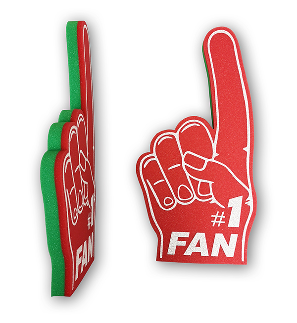 red and green foam hand