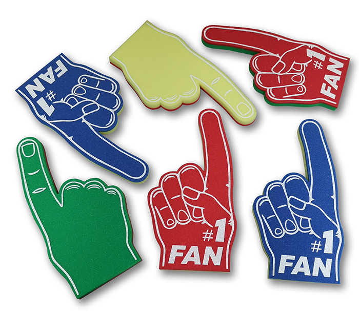 2 foam colour foam hands
